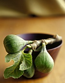 Figs with Leaves on a Wooden Bowl