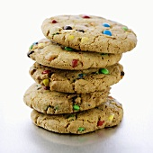 A Stack of Five M&M Cookies