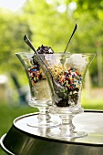 Ice Cream in Glass Dishes with Assorted Sprinkles
