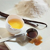 An Egg Yolk in the Shell with Vanilla and Sugar