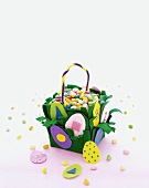 Colorful Homemade Felt Easter Basket Filled with Jelly Beans