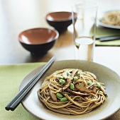 Soba Noodles with Shiitake Mushrooms, Soy Beans and Sesame Seeds