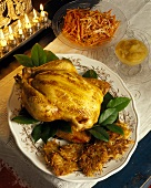 Roast chicken with latkas, carrots & apple puree for Hannukah