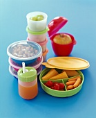 Plastic Food Containers Filled with Various Foods