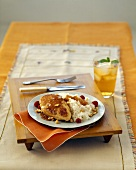 Apricot Glazed Chicken with White Rice, Nuts and Raspberries