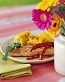 Grilled Salmon with Bell Peppers and Corn on the Cob