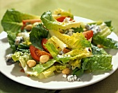 Romaine lettuce with chick-peas, tomatoes and blue cheese