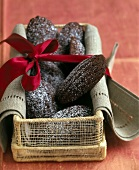 Chocolate Bear Claw Cookies in a Gift Basket