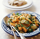 Carrot salad with pearl onions and coriander leaves