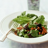 Vegetable salad with black pudding, chorizo & coriander leaves