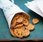 Sweet potato crisps in paper bag