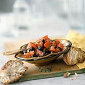 Insalata di pomodori ed olive (Tomato & olive salad, Italy)