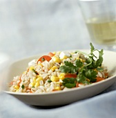 Pearl barley salad with sweetcorn and peppers