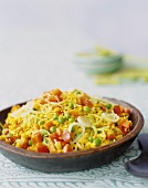 Yellow Rice with Bell Peppers, Onions, Carrots and Peas