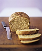 Wholemeal bread with sesame, slices cut