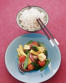 Pan-cooked vegetables with sweetcorn & tofu; noodles (Asia)
