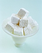 Home-made marshmallows in bowl
