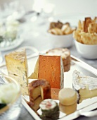 Assorted Cheeses on a Tray with Crackers