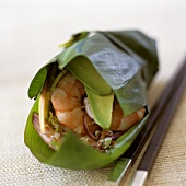 Shrimp and Avocado with Vegetables Wrapped in a Banana Leaf