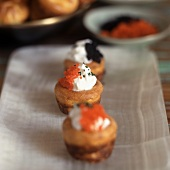 Mini Cakes Topped with Creme Fraiche and Caviar