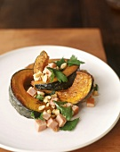 Roasted acorn squash with ham