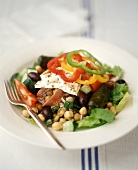Greek Salad with Chickpeas, Olives, Goat Cheese and Dolmades