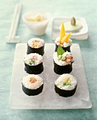 Assorted Maki Sushi on a Mother of Pearl Platter