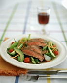 Sliced Beef on a Salad of Greens, Potatoes, Avocadoes and Green Beans