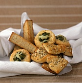 Assorted Breads in a Napkin: Breadsticks, Poppy and Sesame Seed and Jalapeno and Cheddar