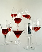 A Pyramid of Red Wine Filled Wine Glasses