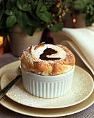 Vanilla Souffle with a Puddle of Chocolate in the Center