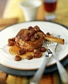 A Pork Chop with Raisin Sauce
