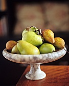 Bosc and Comice Pears in a Pedestal Bowl