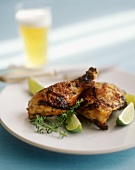 Glazed, Barbecued Chicken with Fresh Thyme and Limes