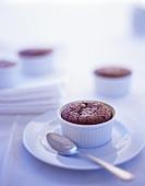 Molten Chocolate Cake in a Ramekin with a Spoon