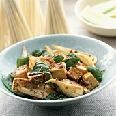 Stir Fried Tofu with Basil Leaves and Bok Choy