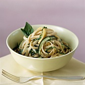 Fettucine with courgettes, basil and Parmesan