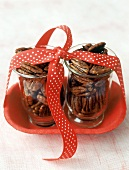 Candied pecans in jars to give as a gift