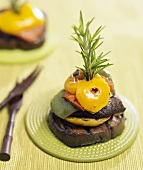 Roasted Vegetables Held Together with a Rosemary Sprig
