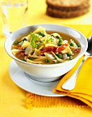 Hearty Soup with Vegetables, Prosciutto and Egg Noodles