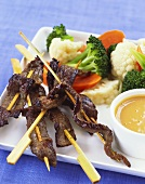 Skewered Beef with Peanut Sauce and Vegetables