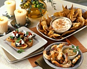 Cilantro-Lime Grilled Shrimp, Portabella Bruschetta and Chili and Cheese Dip