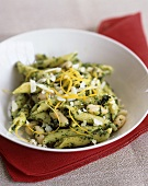 Penne with pesto, white beans, lemon zest and Parmesan