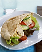 Whole Wheat Pita Filled with Chicken, Cucumber, Tomato and Lettuce