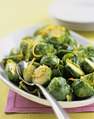 Steamed Brussel Sprouts with Lemon Zest and Pepper