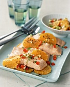Poached Salmon with Sliced Orange and Red Pepper Relish