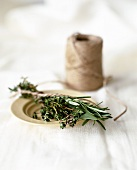Bunch of herbs with string