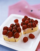 Two small raspberry cakes
