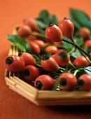 Rose hips with leaves on wicker tray