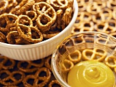 Salted pretzels and mustard